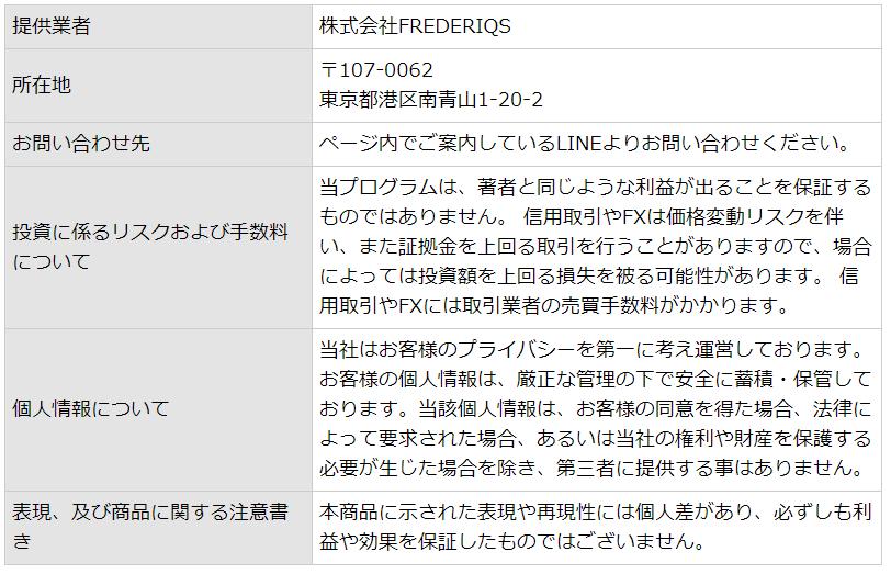 株式会社FREDERIQS 特定商取引法画像